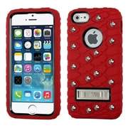 Insten Tuff eNuff Tread Silicone Hybrid 3D Rubber Hard Case w/stand/Wallet For Apple iPhone SE / 5 / 5S - Red/Black