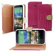 Insten Flip Leather Fabric Cover Case w/Diamond For HTC Desire 510 - Purple/Gold