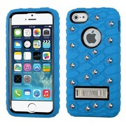 Insten Tuff eNuff Tread Gel Dual Layer 3D Rubber Hard Cover Case w/stand/Wallet For Apple iPhone SE / 5 / 5S - Blue/Blac