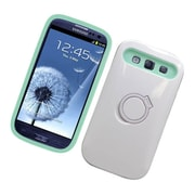 Insten Two-Tone/NightGlow Ring Stand Hybrid Jelly Hard Silicone Case Cover For Samsung Galaxy S3 - White/Mint Green