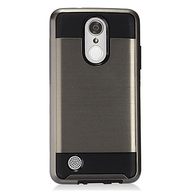 Insten Hybrid Dual Layer Brushed Metal Hard TPU Shockproof Case Cover For LG Aristo - Gray/Black