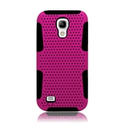 Insten TPU Rubber Hard PC Candy Skin Mesh Case Cover For Samsung Galaxy S4 Mini - Hot Pink/Black