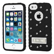 Insten Tuff eNuff Tread Soft Hybrid 3D Rubber Hard Cover Case w/stand/Wallet For Apple iPhone SE / 5 / 5S - Black/White