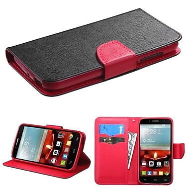 Insten Book-Style Leather Fabric Case w/stand/card slot For Alcatel One Touch Fierce 2 7040T - Black/Red