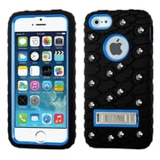 Insten Tuff eNuff Tread Gel Dual Layer 3D Rubber Hard Case w/stand/Wallet For Apple iPhone SE / 5 / 5S - Black/Blue