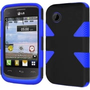 Insten Dynamic Hard Hybrid Rubberized Silicone Cover Case For LG 306G - Black/Blue