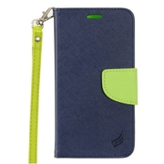 "Insten Folio Leather Fabric Stand Card Case Lanyard w/Photo Display For Apple iPhone 7 Plus (5.5"") - Blue/Green"