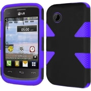 Insten Dynamic Hard Dual Layer Rubber Coated Silicone Cover Case For LG 306G - Black/Purple