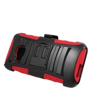 Insten Hard Dual Layer Plastic Silicone Stand Case with Holster For HTC One M9 - Black/Red