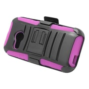 Insten Stand Dual Layer Hybrid Case with Holster For HTC One M8 Mini - Black/Hot Pink