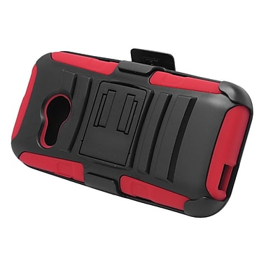 Insten Stand Dual Layer Hybrid Case with Holster For HTC One M8 Mini - Black/Red