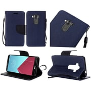 Insten Book-Style Leather Fabric Cover Case Lanyard w/stand For LG G4 Pro/V10 - Blue/Black