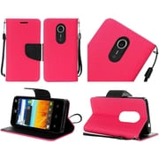 Insten Book-Style Leather Fabric Case Lanyard w/stand For ZTE N817 - Hot Pink/Black