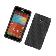 Insten TPU Rubber Hard PC Candy Skin Mesh Case Cover For LG Optimus F7 US780 (US Cellular) - Black