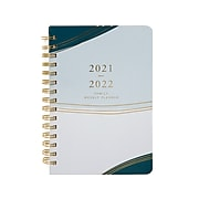 "2021-2022 Gartner Studios 5.63"" x 8.25"" Weekly Planner, Waves, Blue/Gold (58596)"