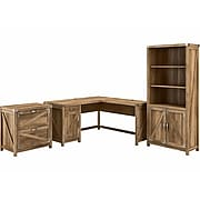 """kathy ireland® Home by Bush Furniture Cottage Grove 60"""" L-Shaped Desk with Storage, Reclaimed Pine (CGR005RCP)"""