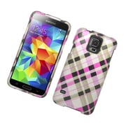 Insten Checker Hard Rubber Cover Case For Samsung Galaxy S5 - Brown/Pink