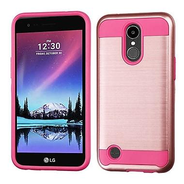 Insten Brushed Metallic Hybrid Dual Layer Hard PC/TPU Shockproof Case For LG K20 Plus / V5 - Rose Gold/Hot Pink