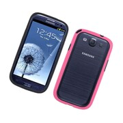 Insten Rubber Bumper Case For Samsung Galaxy S3 - Black/Hot Pink