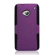 Insten TPU Rubber Hard PC Candy Skin Mesh Case Cover For HTC One M7 - Purple/Black