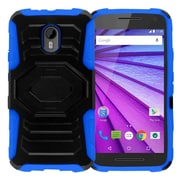 Insten Hard Dual Layer Plastic Silicone Case w/Holster For Motorola Moto G (3rd Gen) - Black/Blue