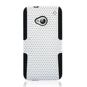 Insten TPU Rubber Hard PC Candy Skin Mesh Case Cover For HTC One M7 - White/Black