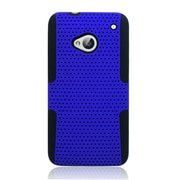 Insten TPU Rubber Hard PC Candy Skin Mesh Case Cover For HTC One M7 - Blue/Black