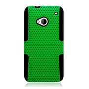 Insten TPU Rubber Hard PC Candy Skin Mesh Case Cover For HTC One M7 - Green/Black