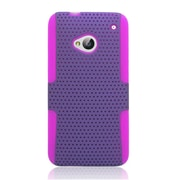 Insten TPU Rubber Hard PC Candy Skin Mesh Case Cover For HTC One M7 - Purple/Hot Pink