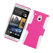 Insten TPU Rubber Hard PC Candy Skin Mesh Case Cover For HTC One Mini - Hot Pink/White