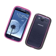 Insten TPU Bumper Case For Samsung Galaxy S3 - Hot Pink/Black