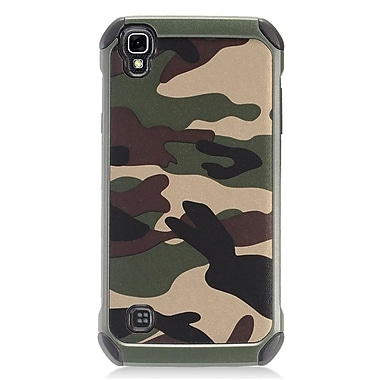 Insten Dual Layer Hybrid Rubberized Hard Silicone Shockproof Case For LG Tribute HD / X STYLE - Green Camouflage/Black