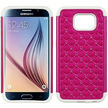 Insten Fish Scale Hard Dual Layer TPU Cover Case w/Diamond For Samsung Galaxy S6 - Hot Pink/Black