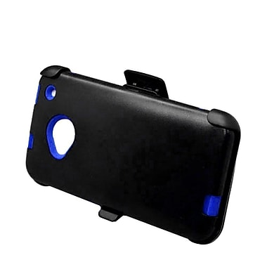 Insten Hard Hybrid Dual Layer Silicone Case w/ Holster Clip for HTC One M7 - Black/Blue