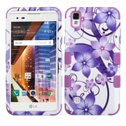 Insten TUFF Hybrid Hard PC/Silicone Case For LG Tribute HD / X STYLE - Purple Flower/Electric Purple