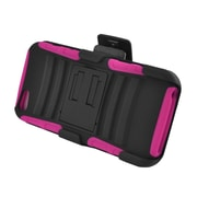 Insten Advanced Armor Dual Layer Hybrid Stand PC/Silicone Holster Case Cover for Apple iPhone 5 / 5S - Black/Hot Pink