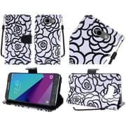 Insten White Rose Flower Design Textured Flip Wallet Credit Card Leather Stand Case For Samsung Galaxy J3 (2017)