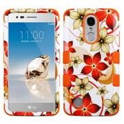 Insten TUFF Hybrid Case (Shock Absorbing) For LG Aristo / Fortune / K8 (2017) / LV3 / Phoenix 3 - Hibiscus Flower/Orange