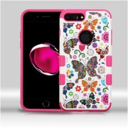 Insten Hard Rubberized Silicone Cover Case For Apple iPhone 7 Plus - Colorful/Hot Pink