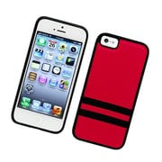 Insten Stripes PC/TPU Rubber Case Cover for Apple iPhone 5 / 5S - Red/Black
