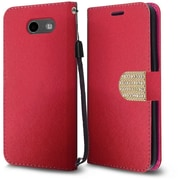 Insten PU Leather Bling Diamante MyJacket Wallet Card Flip Stand Case For Samsung Galaxy J3 (2017) - Red