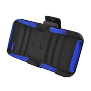Insten Advanced Armor Dual Layer Hybrid Stand PC/Silicone Holster Case Cover for Apple iPhone 5 / 5S - Black/Blue