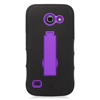 Insten Symbiosis Gel Dual Layer Rubber Hard Case For Huawei Tribute 4G LTE - Black/Purple