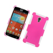 Insten TPU Rubber Hard PC Candy Skin Mesh Case Cover For LG Optimus F7 US780 (US Cellular) - Hot Pink/White
