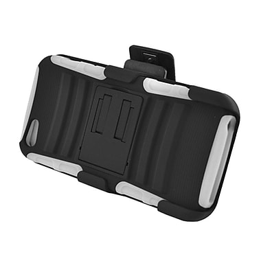 Insten Advanced Armor Dual Layer Hybrid Stand PC/Silicone Holster Case Cover for Apple iPhone 5 / 5S - Black/White
