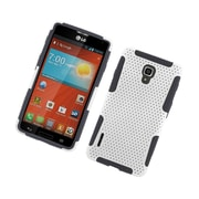 Insten TPU Rubber Hard PC Candy Skin Mesh Case Cover For LG Optimus F7 US780 (US Cellular) - White/Black
