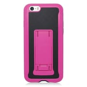 Insten Hard Hybrid Plastic Silicone Cover Case w/stand for iPhone 6 / 6s - Black/Hot Pink