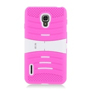 Insten Wave Symbiosis Soft Rubber Hard Cover Case w/stand For LG Optimus F7 US780 (US Cellular) - Hot Pink/White