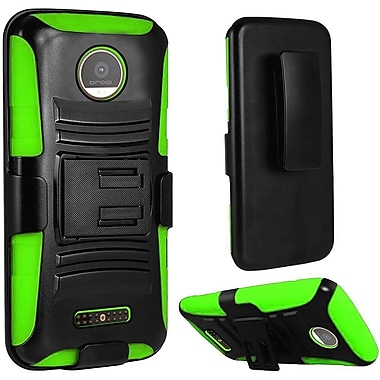 Insten Hard Dual Layer Plastic Silicone Cover Case w/Holster For Motorola Moto Z Force Droid Edition - Black/Green