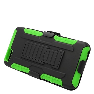 Insten Hard Hybrid Plastic Silicone Stand Case with Holster for iPhone 6s Plus / 6 Plus - Black/Green